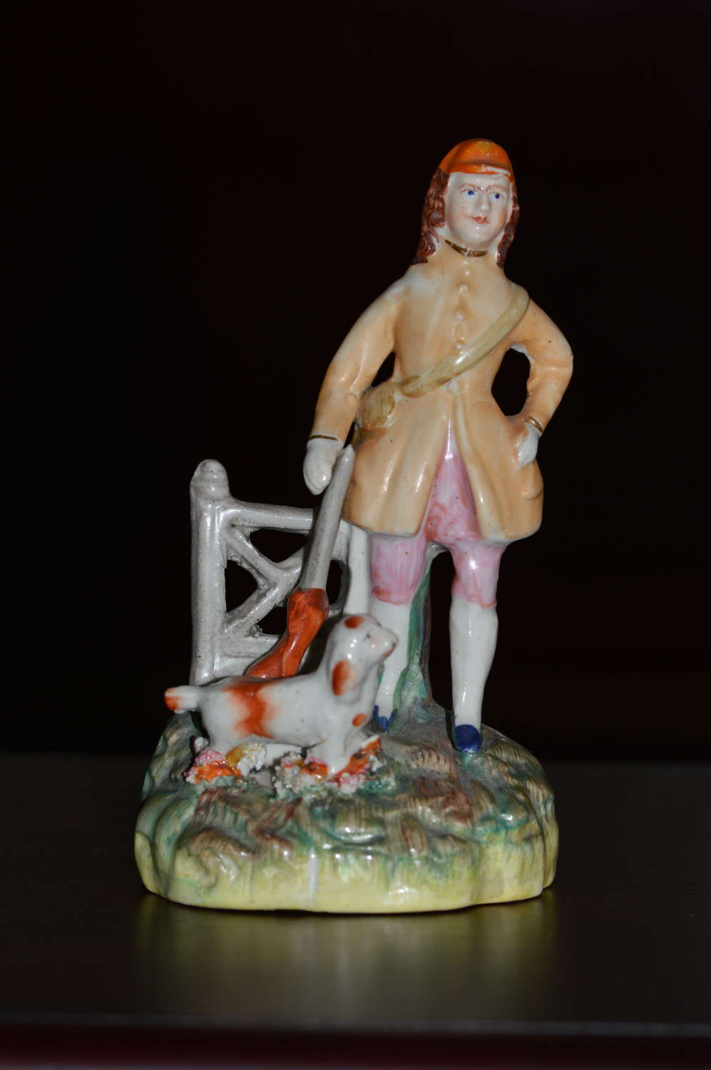 C1860 Victorian Staffordshire Miniature Figure of a Man and his dog