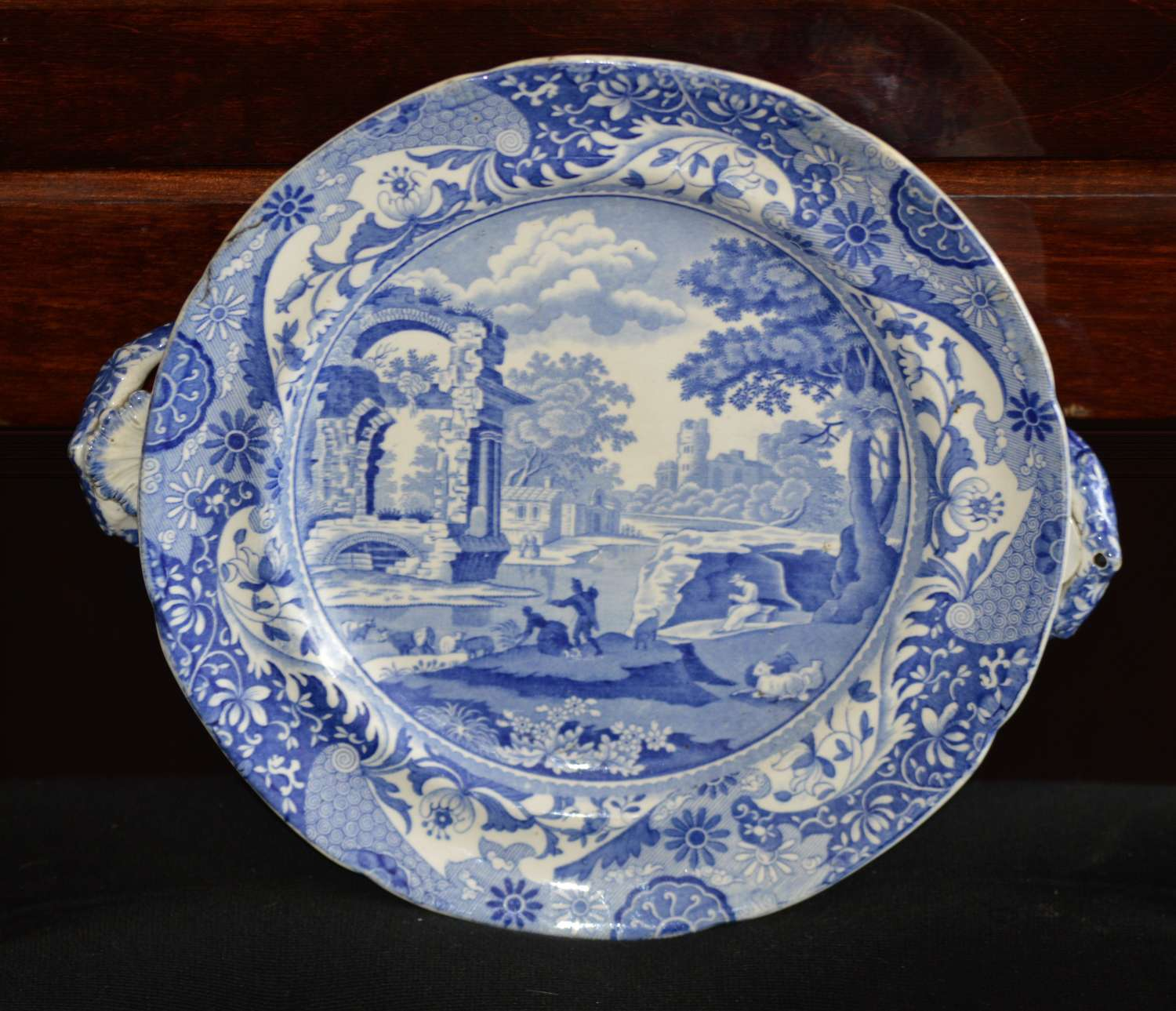 Early 19c Blue and White Spode Italian Pattern Hot Water Plate