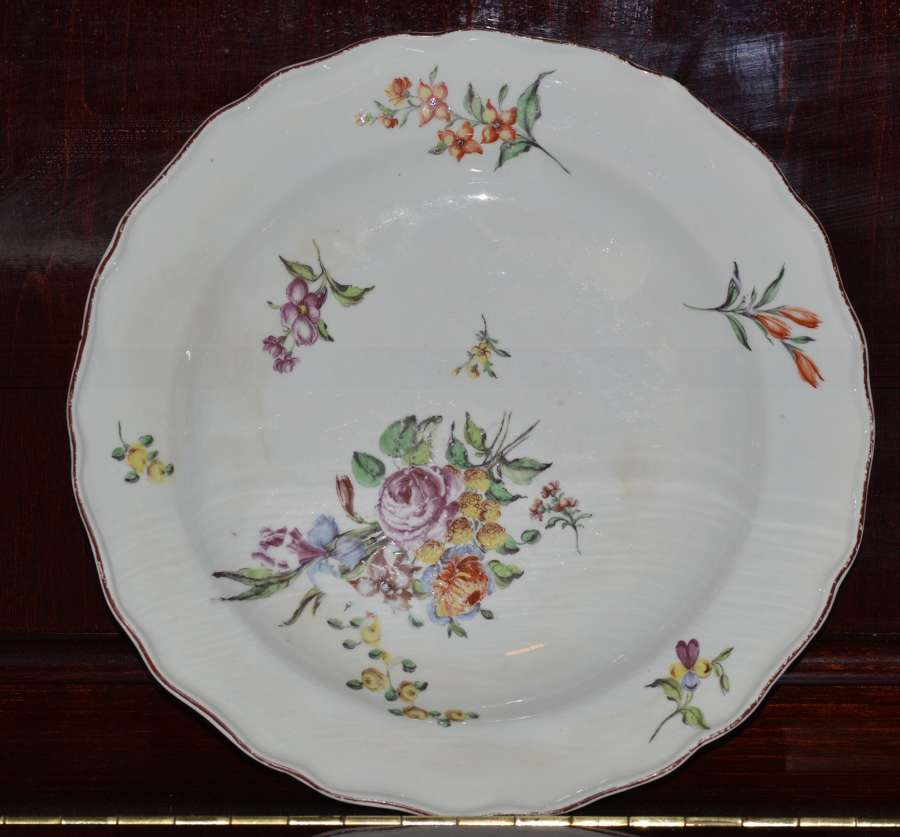 Chelsea 1752-1776 shaped deep plate / dish painted with floral sprays