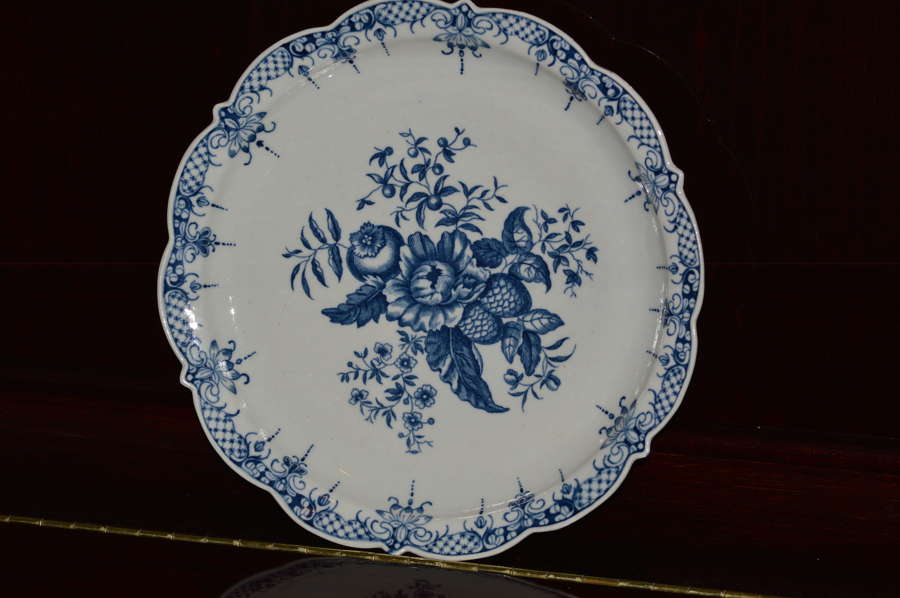18th Century First Period Worcester Blue and White Pine Cone Pattern