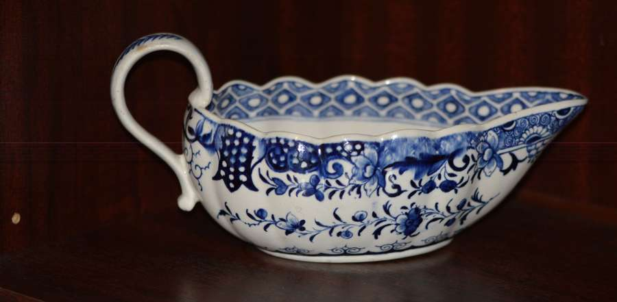 18th Century Derby Blue and White Chinoiserie Sauce Boat