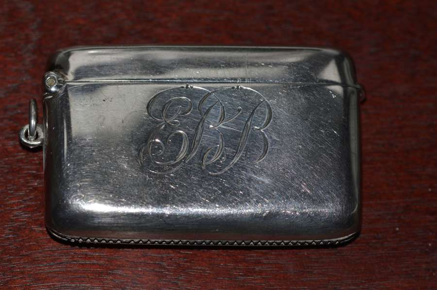 1913 Silver Vesta Case by Birmingham Silversmith Charles S Green & Co