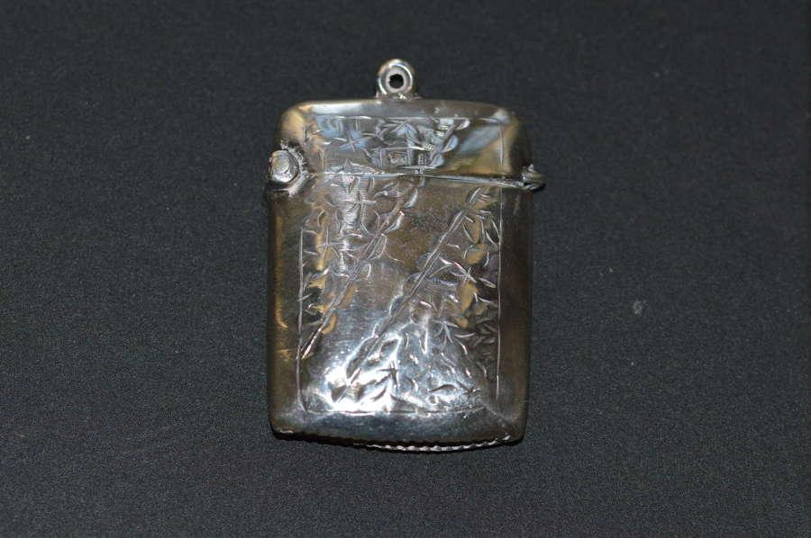1907 Edwardian Silver Vesta by Birmingham's Constantine & Floyd Ltd