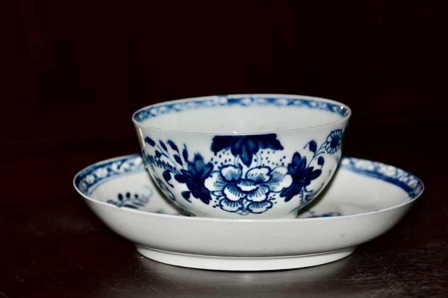 1766-70 Liverpool Philip Christian Tea Bowl + Saucer 'Bird on a Branch