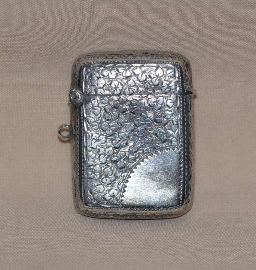 Victorian 1886 John Gammage Solid Birmingham Silver Vesta Case