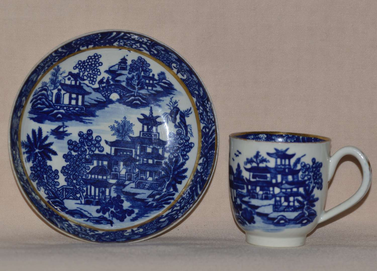 Worcester Porcelain Coffee Cup and Saucer 'Bandstand' Pattern 1780-90