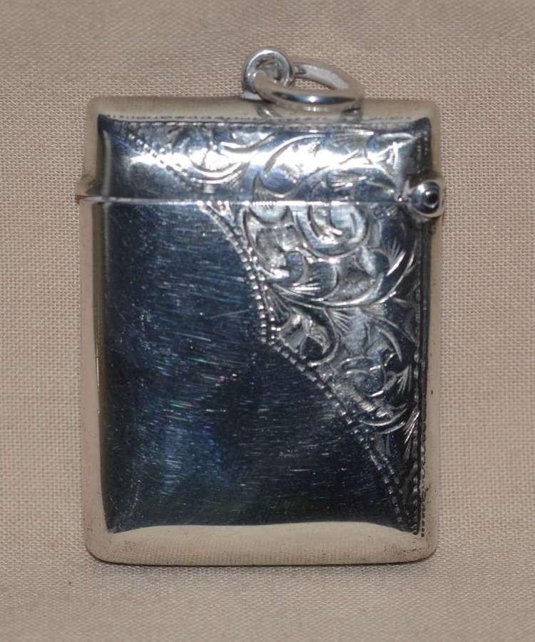 1901 Edwardian Silver Vesta Case by Birmingham Silversmith John Rose