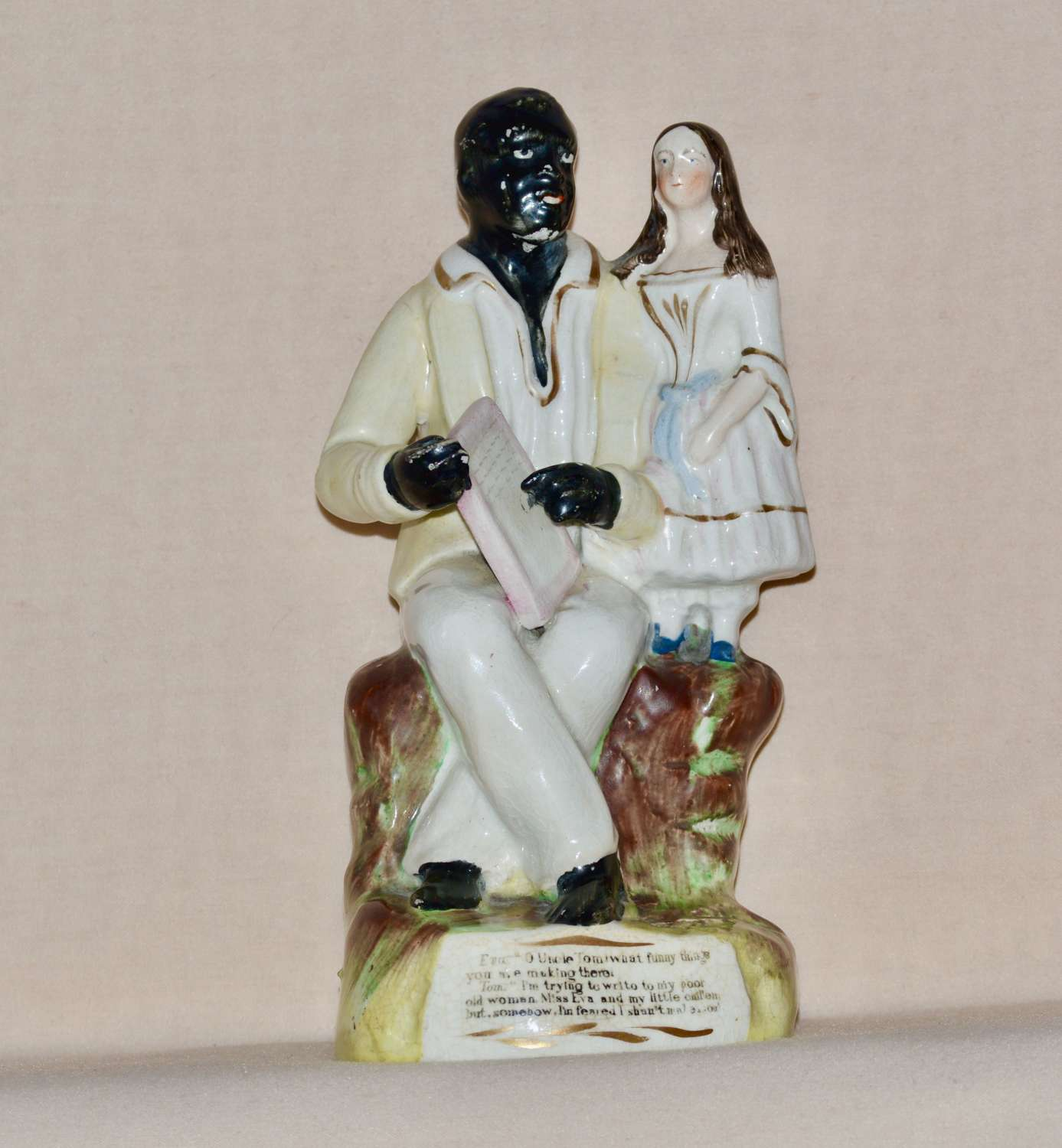 C19th Thomas Parr Staffordshire Figure of Uncle Tom Writing and Eva