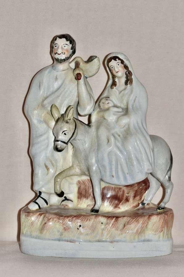 19th Century Thomas Parr Staffordshire Figure of Joseph, Mary + Jesus