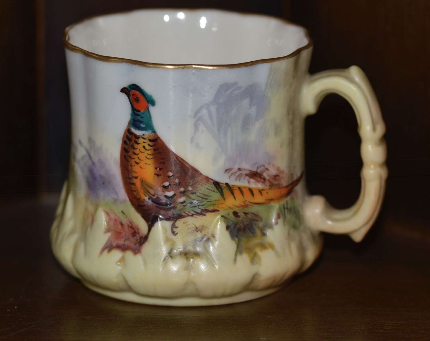 Locke and Co Worcester Small Hand Painted Pheasant Cup c1902/14