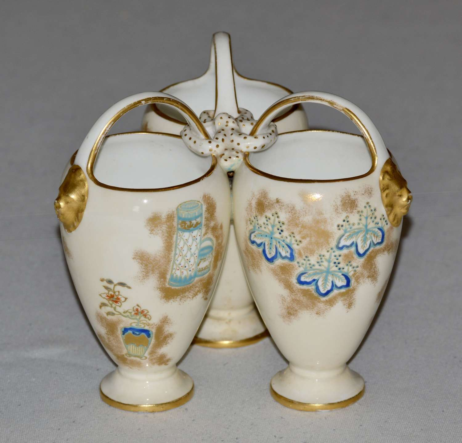 An Unusual Design of a Victorian Royal Worcester Triple Vase c1876/91