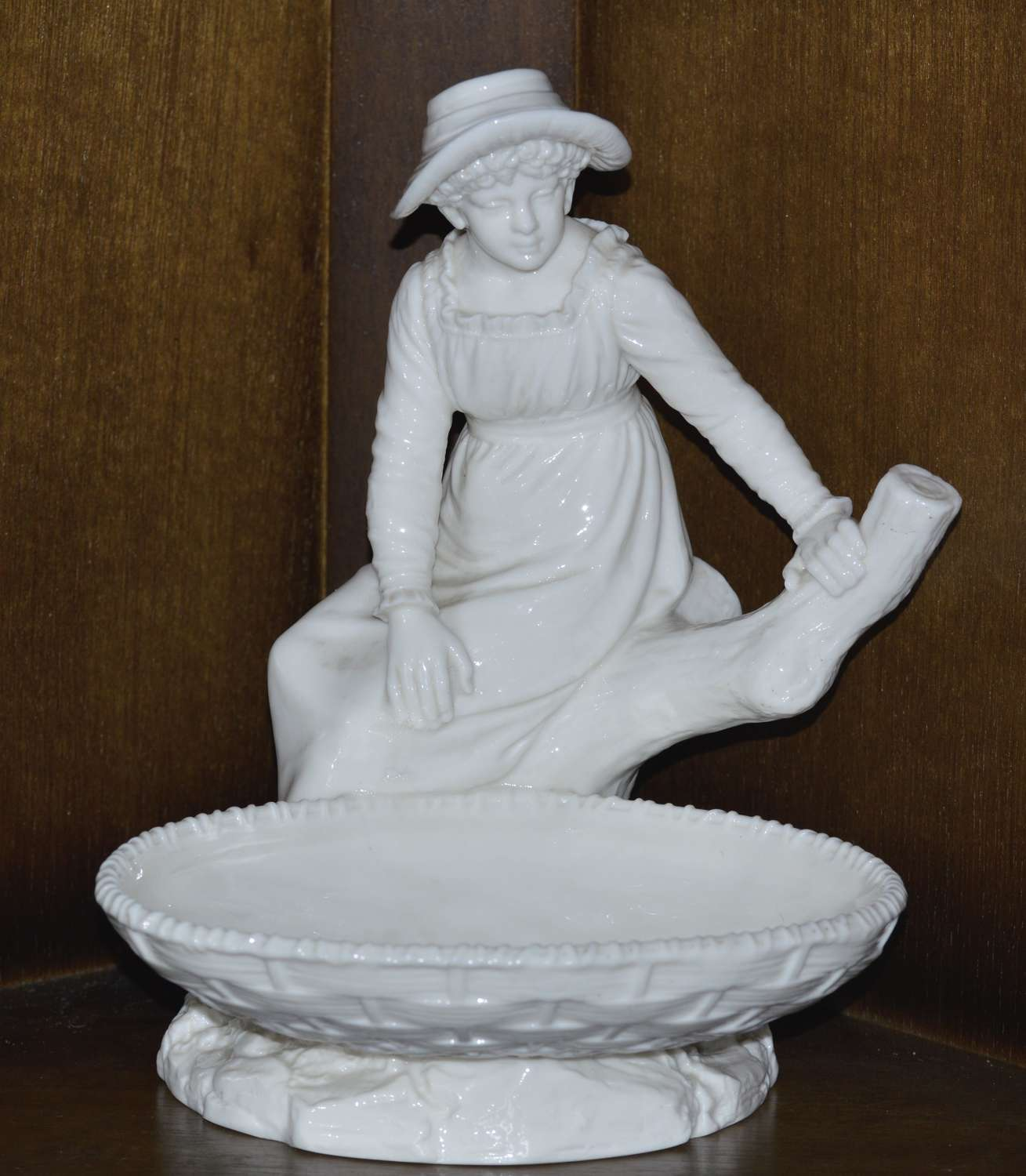 1893 Royal Worcester Figure Girl Seated Upon a Tree Stump -Hadley Mark
