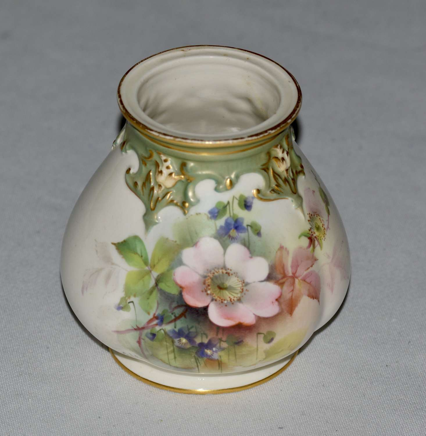 1908 - Royal Worcester - Hand Painted Ovoid Shaped Small Vase - Cole