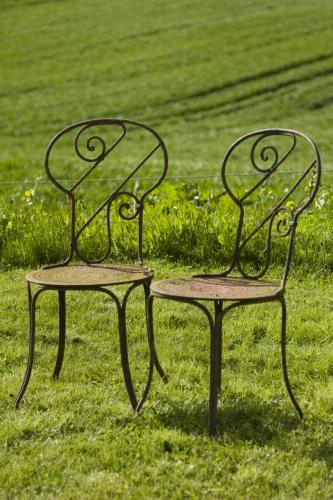 Pair of Antique French Garden Chairs c.1910