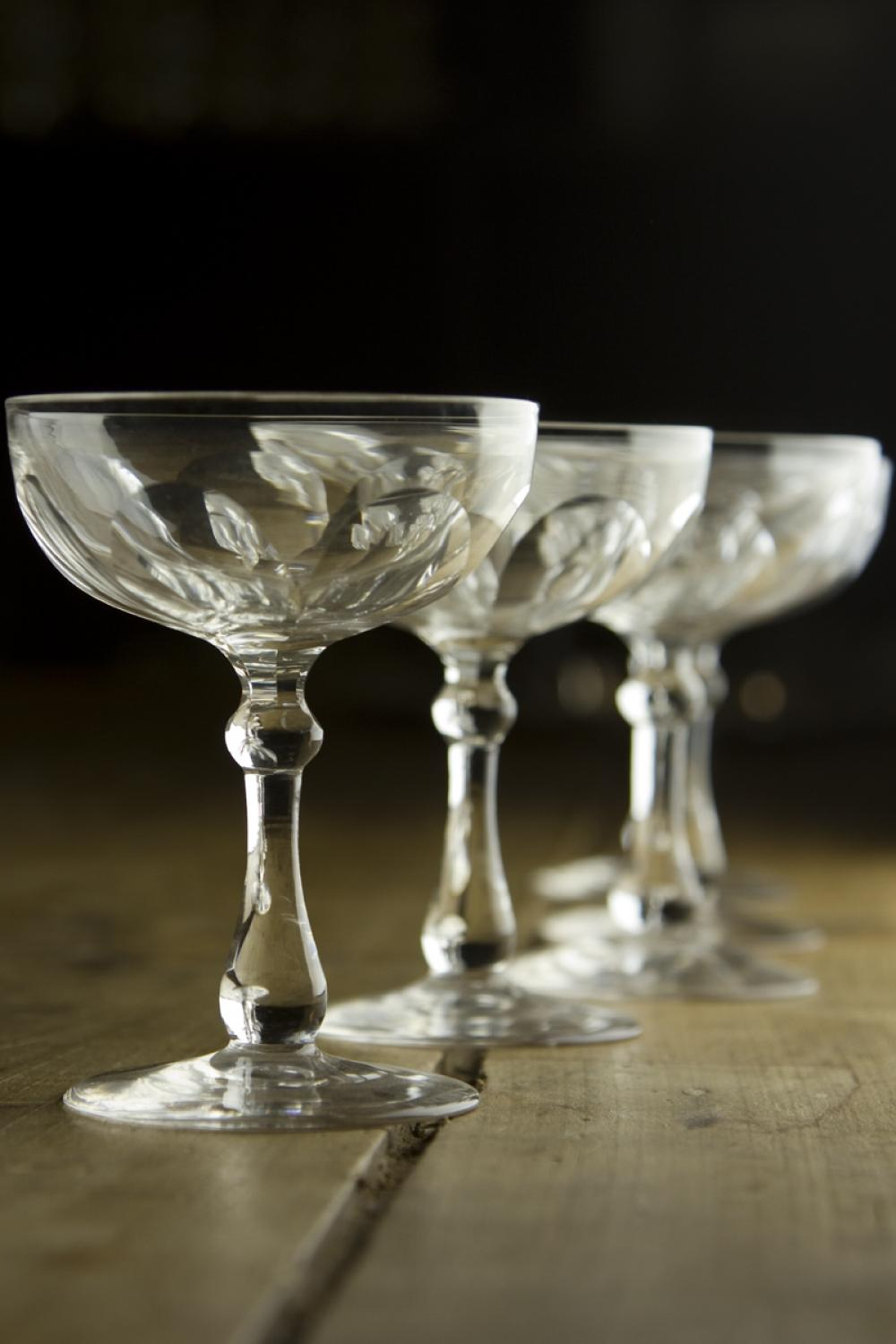 French Crystal Champagne Saucers