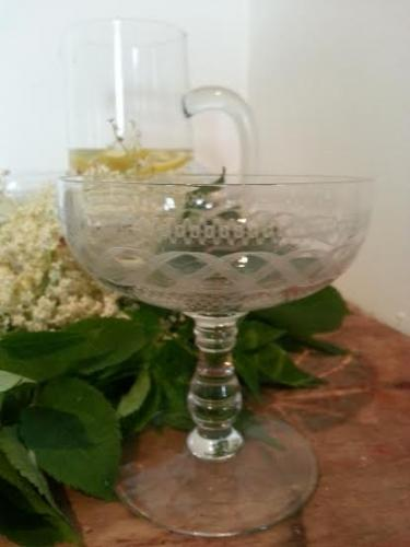 Set of 8 Engraved Crystal Champagne saucers