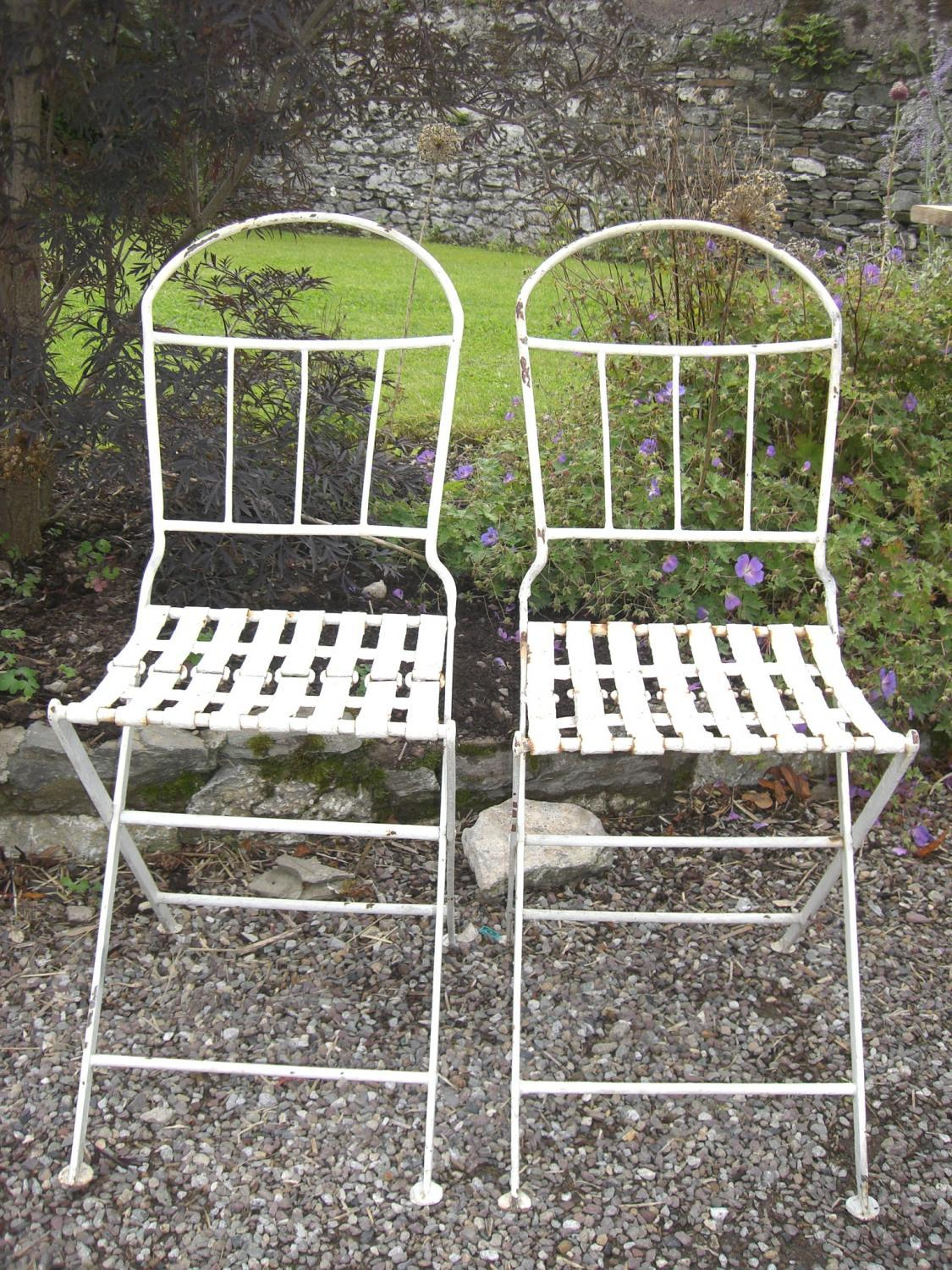 Pair of antique french folding garden chairs