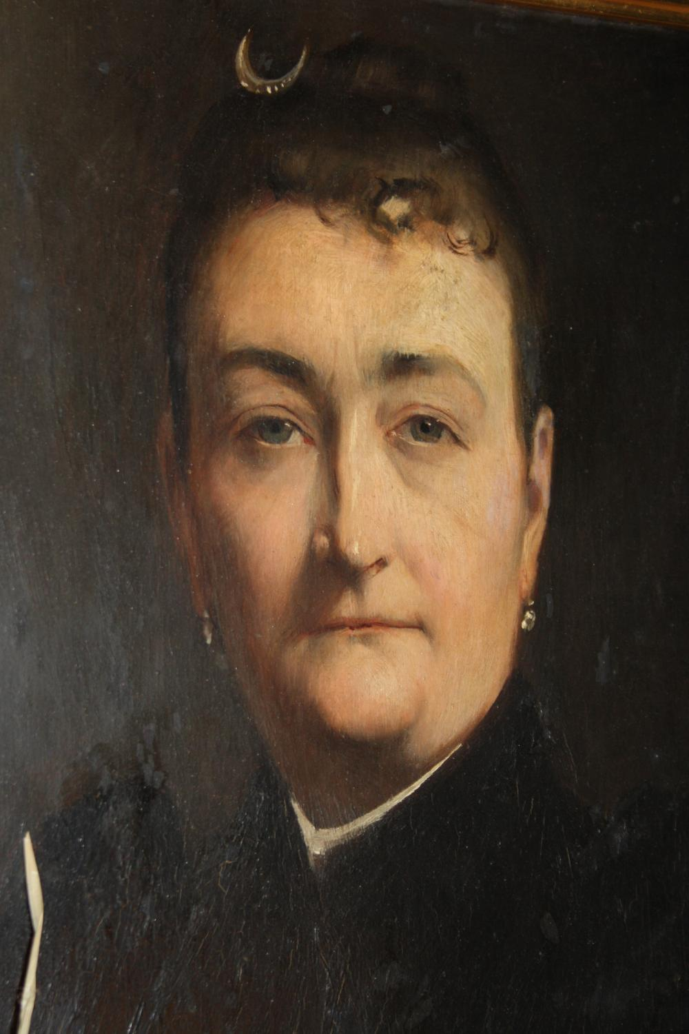 Antique French oil - lady in mourning