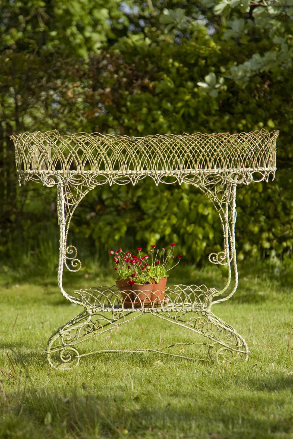 Victorian wirework two tier plant stand