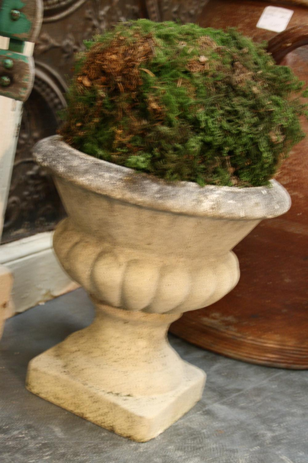 Vintage French composite stone urns