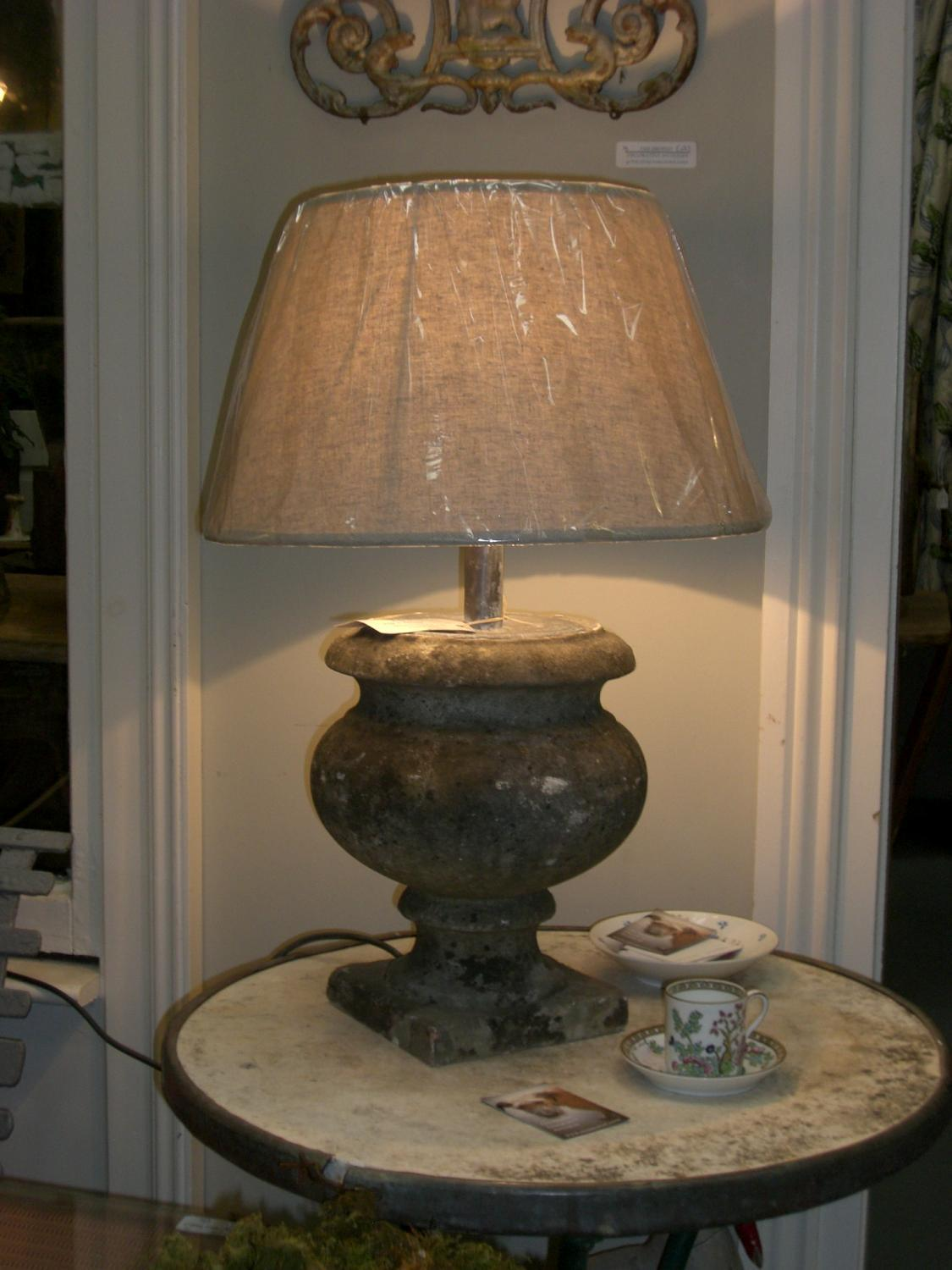 French Marble Urn Lamp & Shade