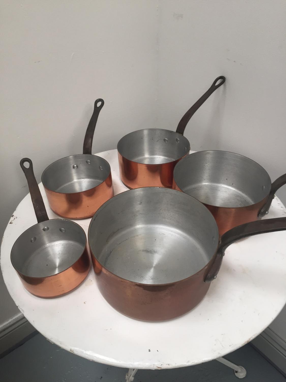 Set of copper saucepans