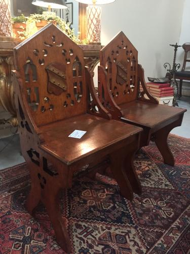 Pair of Gothic Style Hall Chairs