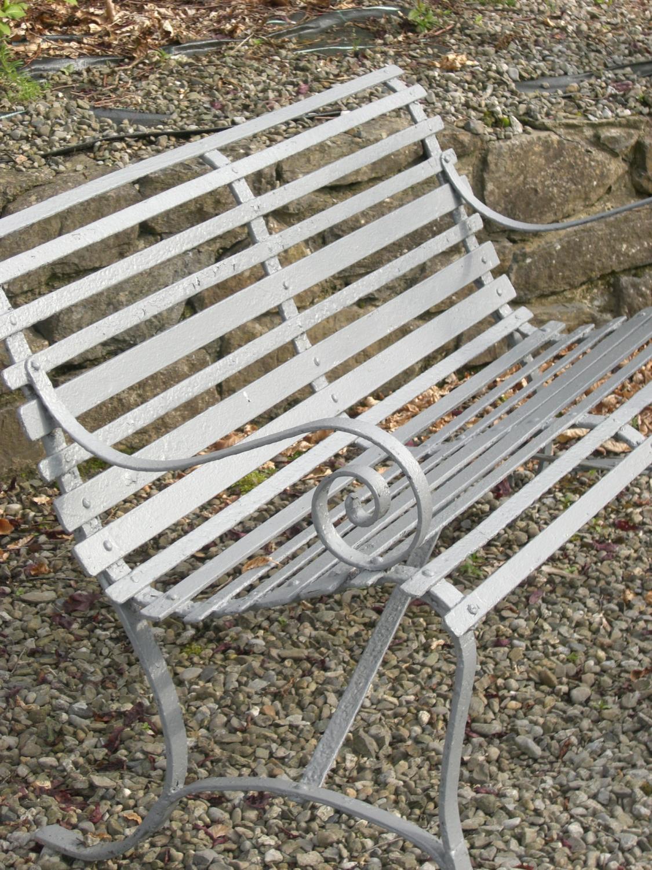 19th C French Strap Iron Garden Bench
