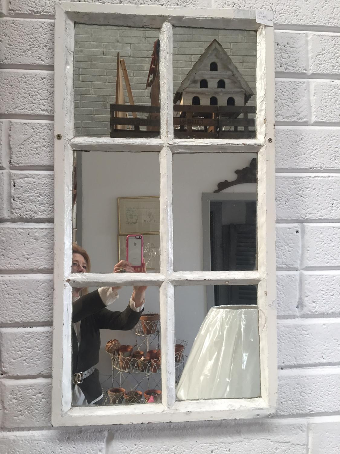 Old Cast Iron Window Mirror