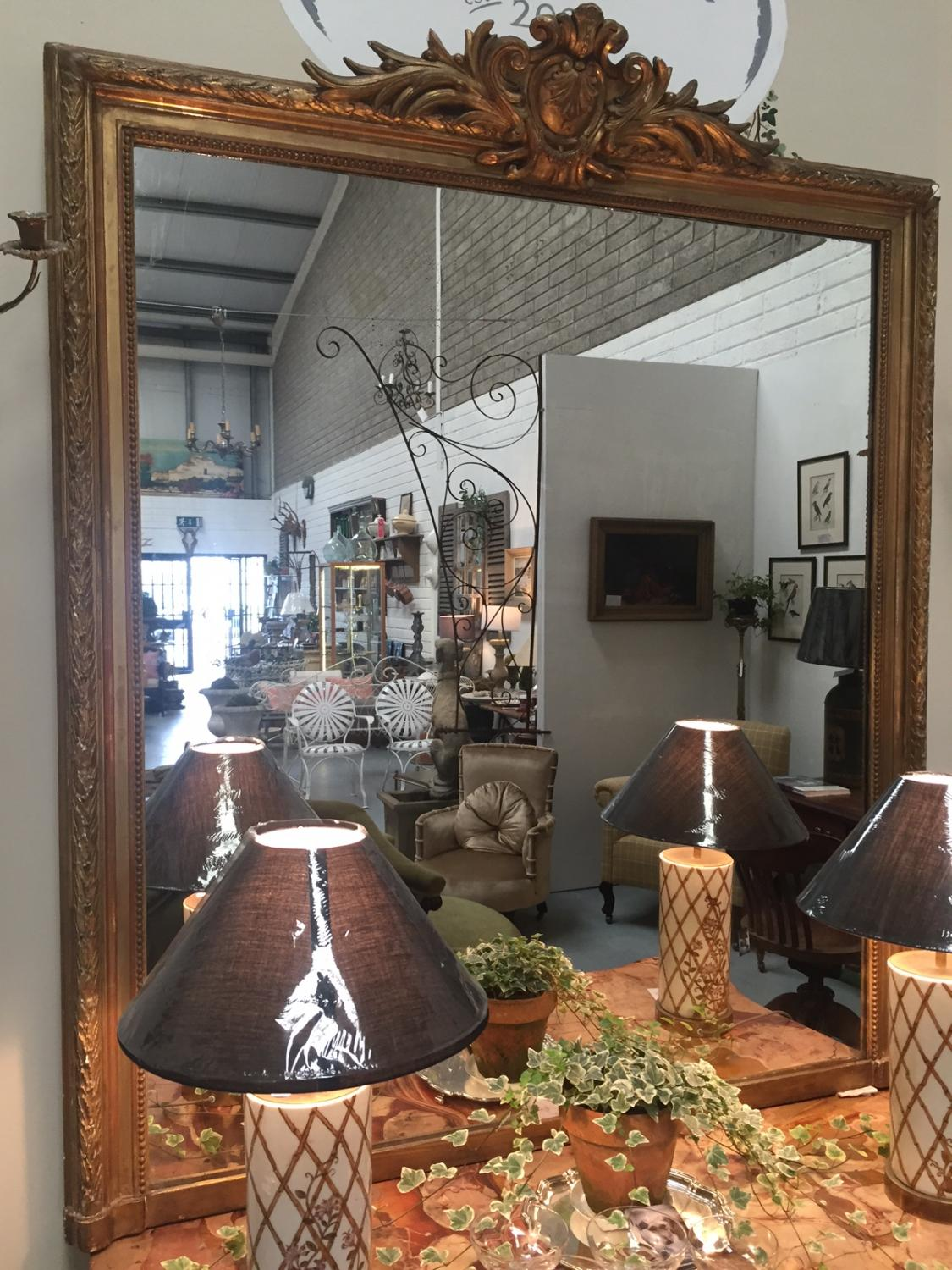 Large French Gilt Overmantle Mirror
