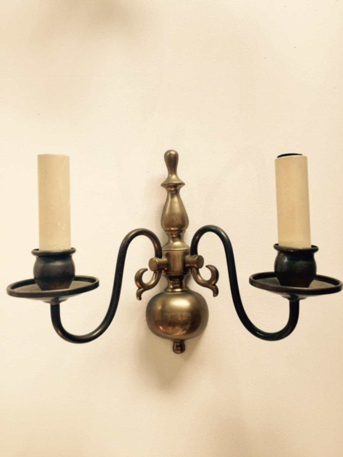 Pair of French Brass Wall Lights