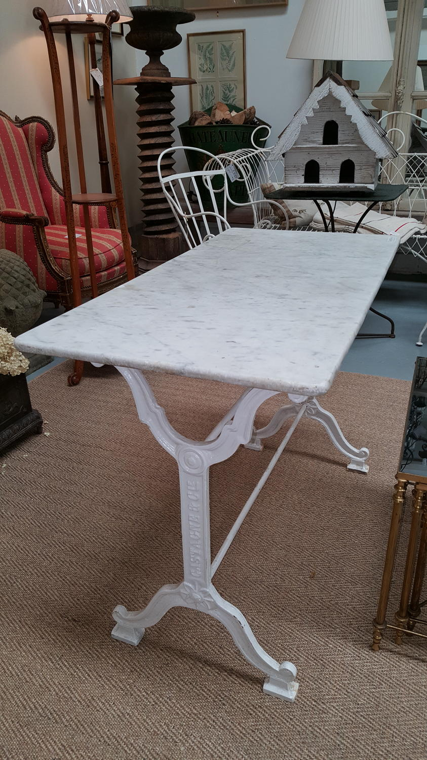 French Cast Iron Table with Marble Top