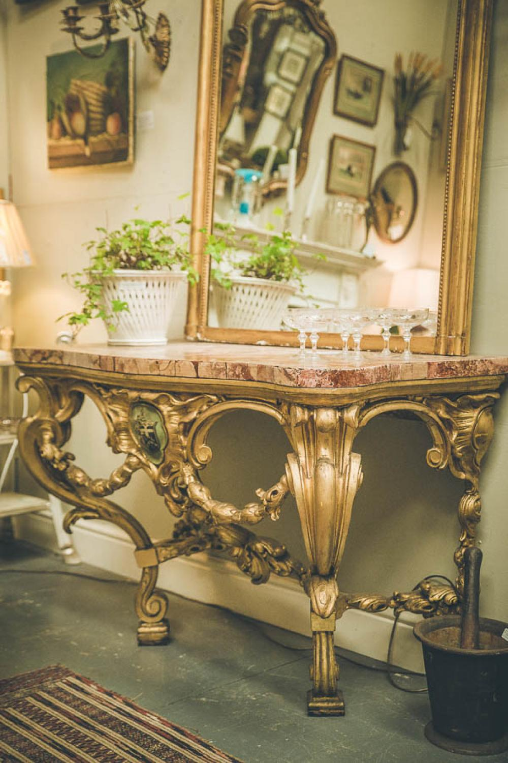19th C Gilt Console Table