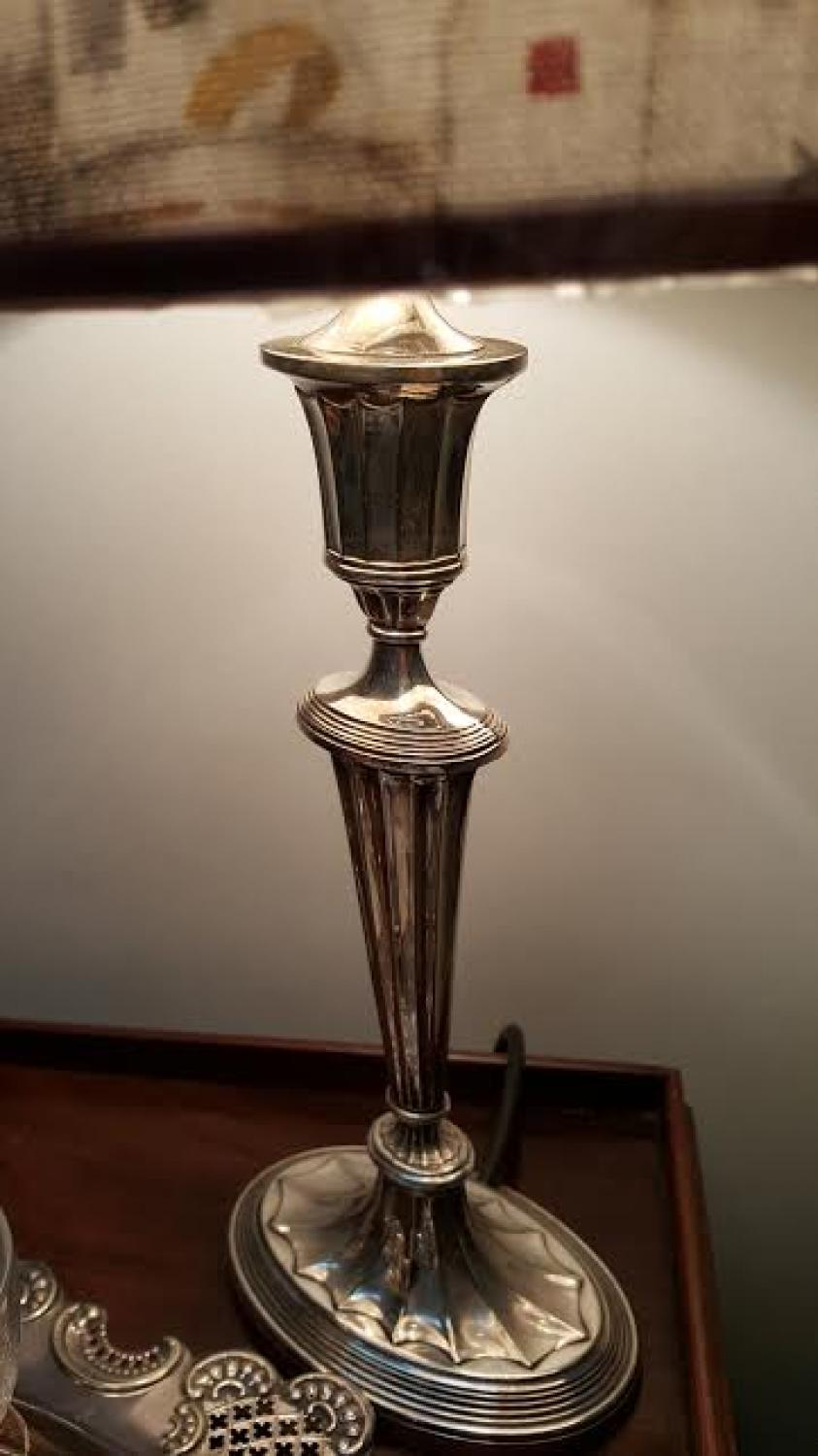 Antique Silver plate candle lamp