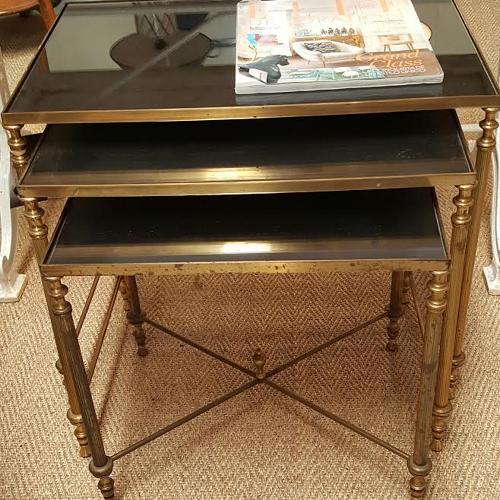 1960's French brass and smoked glass nest of tables