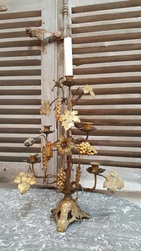 Brass French Candlelabra with Wine and Grape Decoration