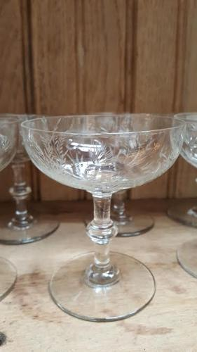 Set of 6 Antique French Engraved Champagne Glasses