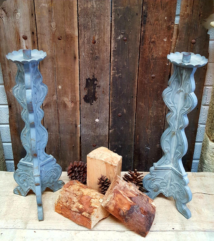 Pair of Antiques zinc Candle Sticks