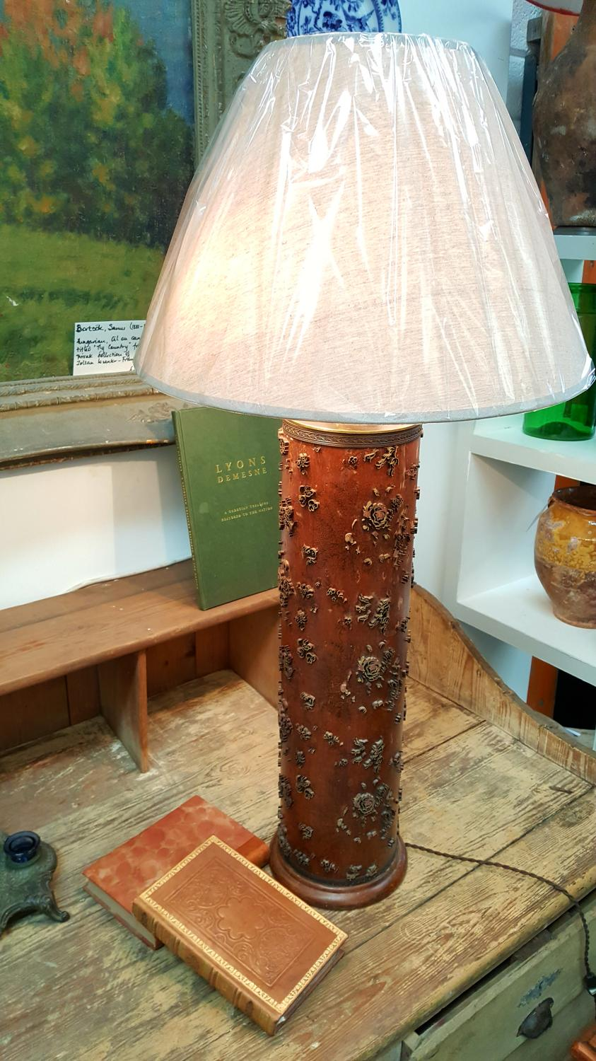 Vintage French Silk/Wallpaper Roller Lamp