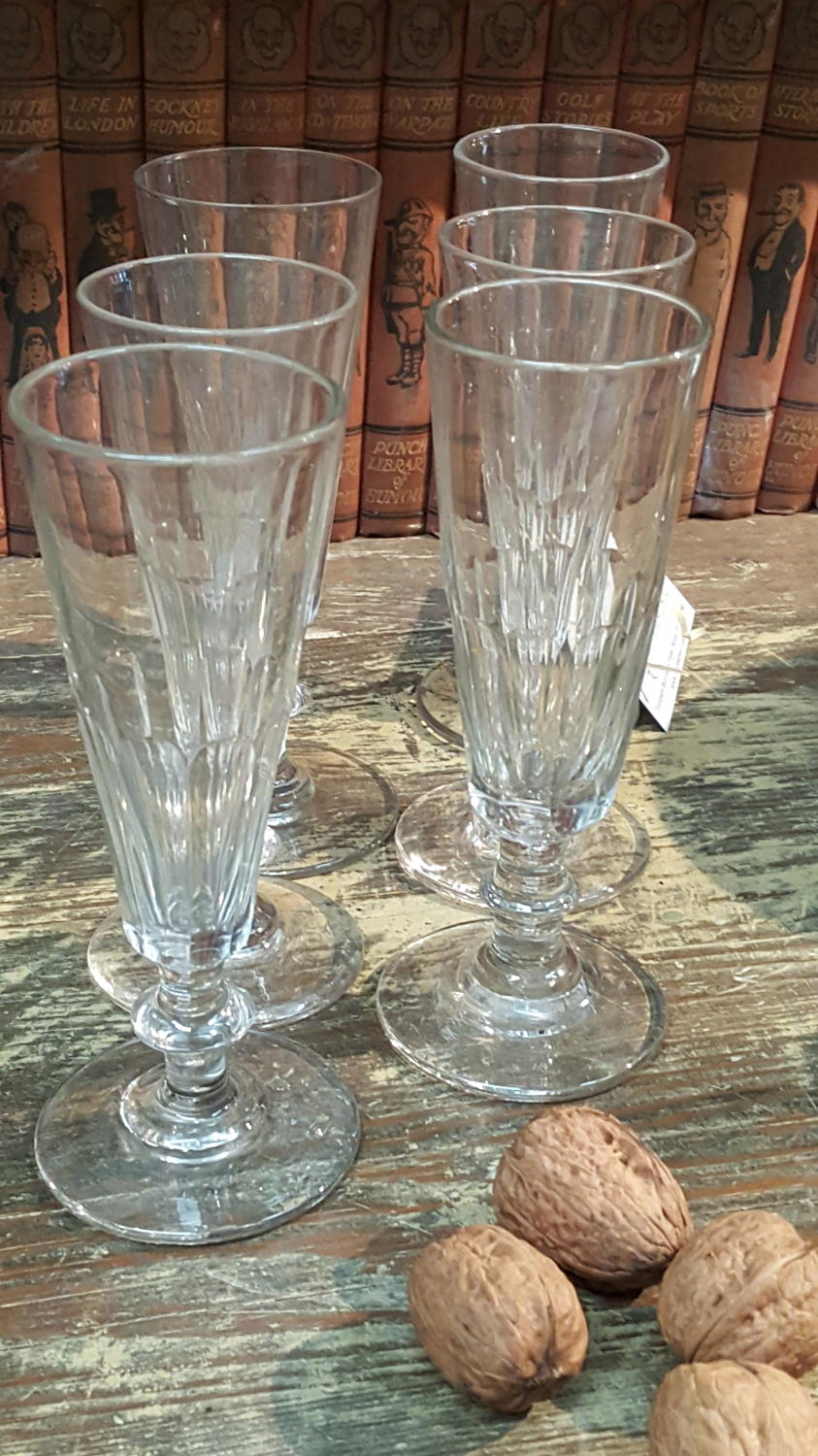 Set of 6 French Crystal Champage Flutes