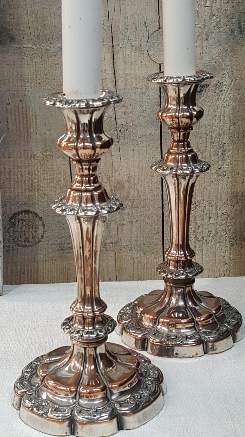 Pair of Silver plate on copper Candlesticks