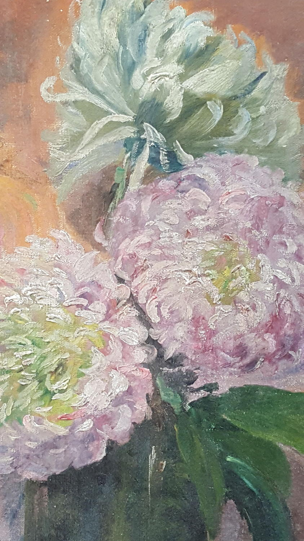 French still life oil on canvas Jug of Dahlias
