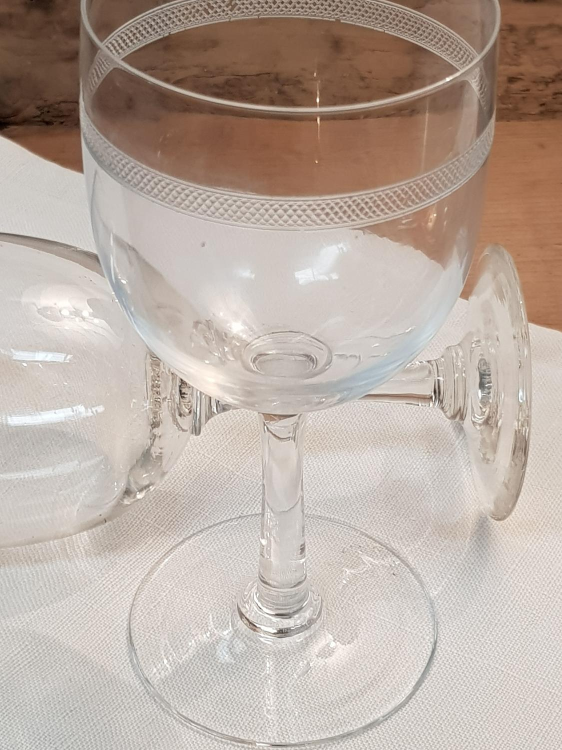 Set of 8 French Mid 20th C Crystal Wine Glasses