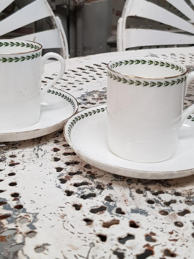 19th century set of 6 coffee cups and saucers