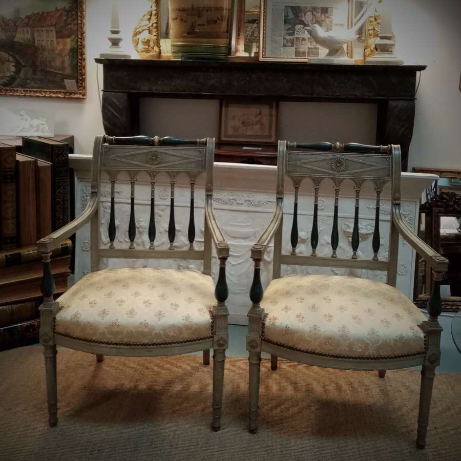 Pair of Empire style french elbow chairs