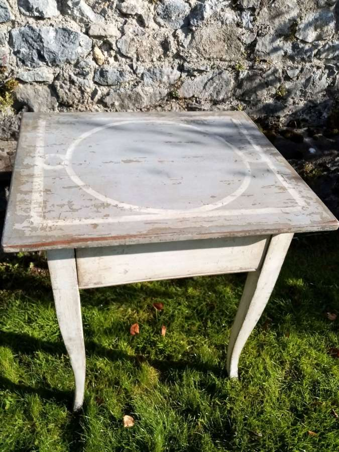 19th c French painted table with drawer