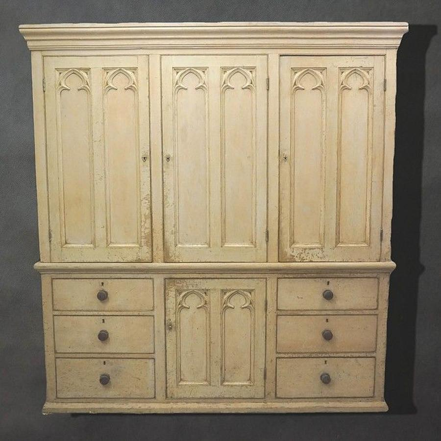Superb Painted Pine 'Gothic' Housekeepers Cupboard c.1870