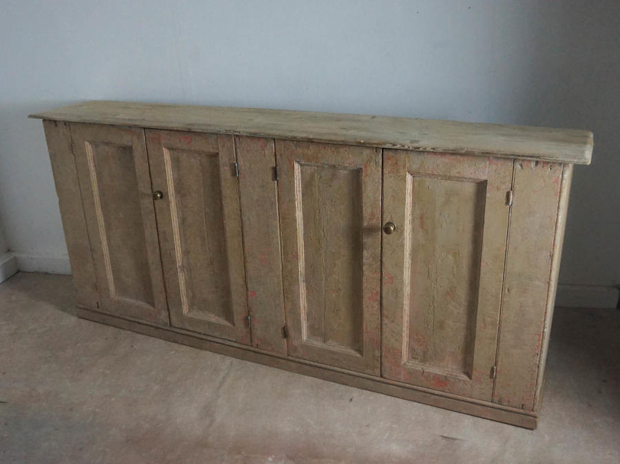 19thc Painted Pine Side Cupboard