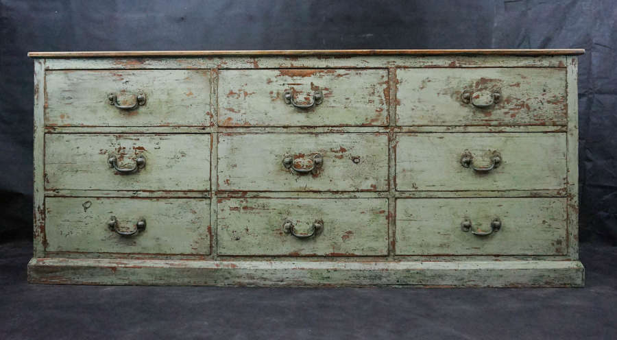 Painted Pine Bank of 9 Drawers c.1900