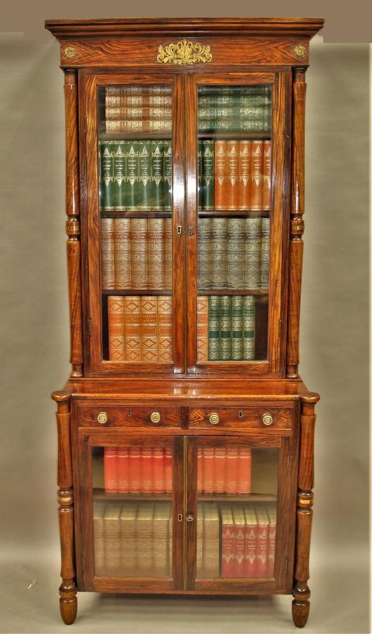 Regency simulated faux calamander bookcase